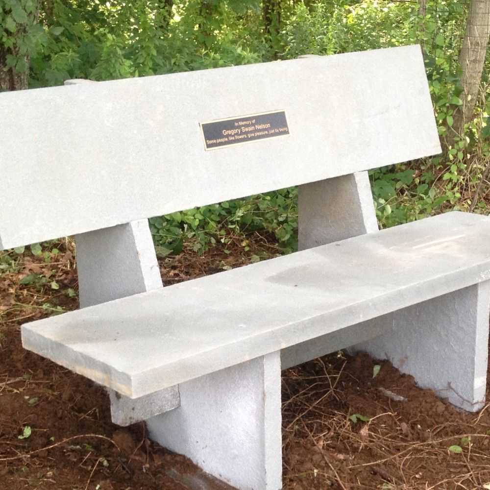 Custom Stone Bench With Inlayed Plaque