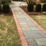 Bluestone Walkway with Brick Border