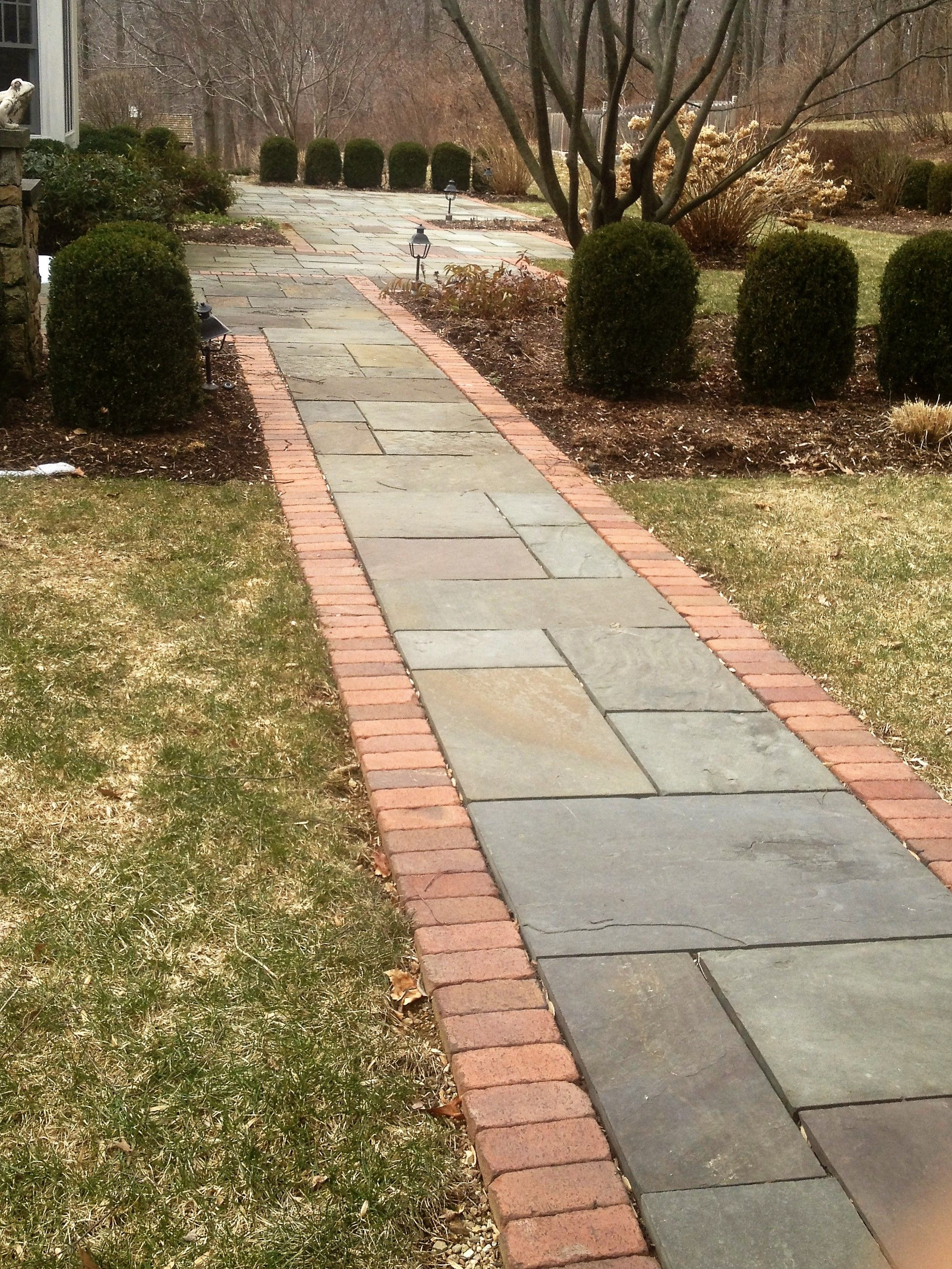 Bluestone Walkway With Brick Border