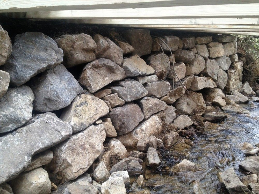 Boulder Wall in Creek